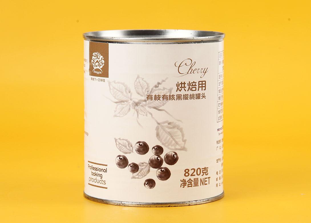 有枝有核黑樱桃罐头820g