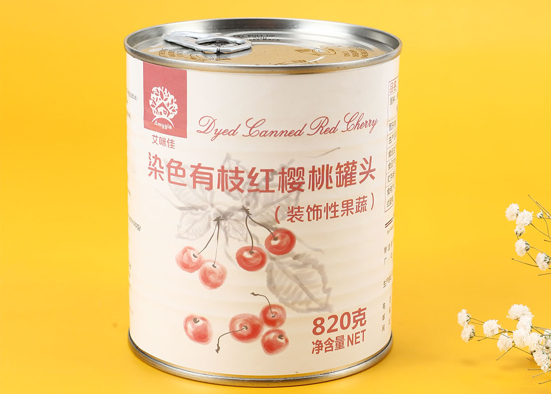 染色有枝红樱桃罐头820g